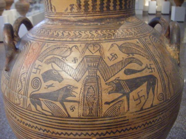 アテネ、百獣の女王が描かれたツボ